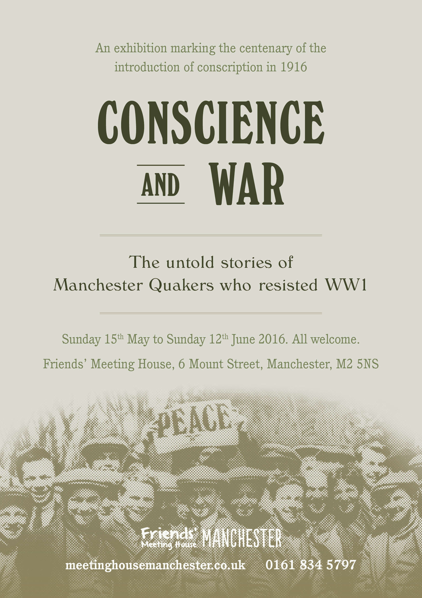 Friends' Meeting House Conscience and war poster