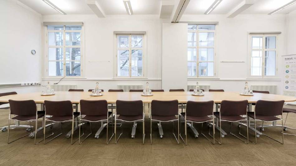 Upper Hall set up for boardroom meeting